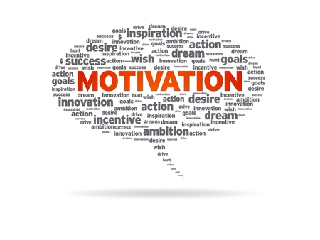 Speech bubble with the word motivation on white background. Foto de archivo