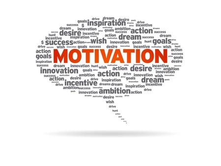 Sprechblase mit der Wort-Motivation auf weißem Hintergrund. Standard-Bild