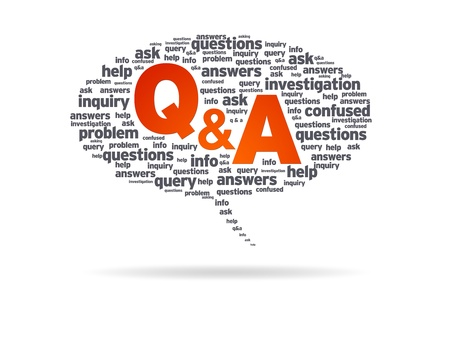 what: Speech bubble with the words Q&A on white background.