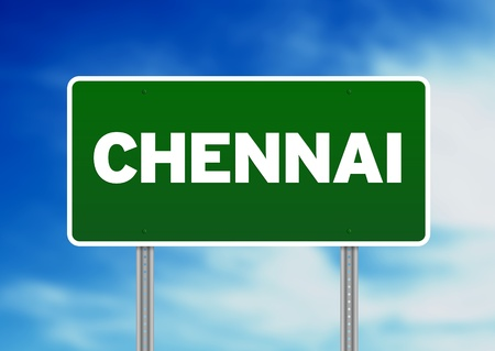 Green Chennai Road sign on Cloud Background.