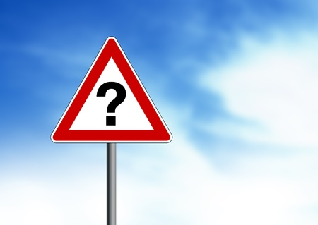 enquiry: Question Mark road sign on cloud background.  Stock Photo
