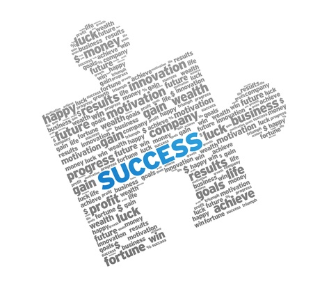 Success Puzzle Piece on white background.