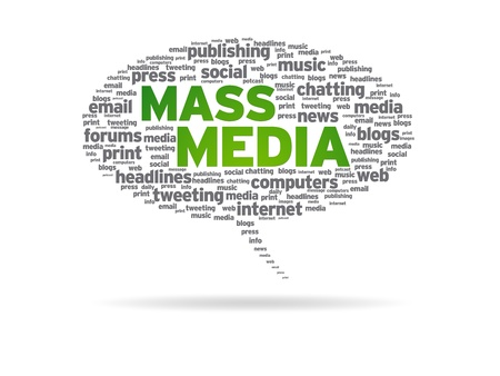 tweet balloon: Speech bubble with the words mass media on white background. Stock Photo