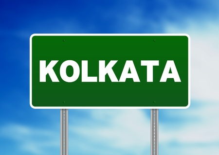 Green Kolkata raod sign on Cloud Background.
