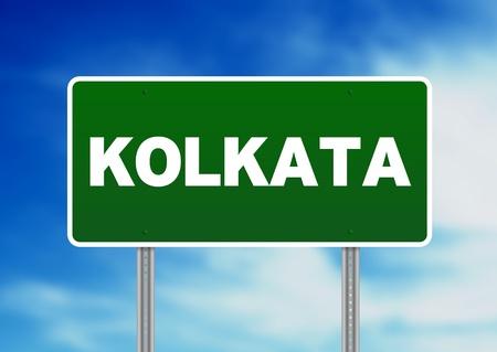 raod: Green Kolkata raod sign on Cloud Background.