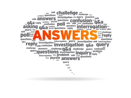 clues: Speech bubble with the word answers on white background. Stock Photo