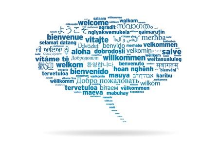 idiomas: Bocadillo con bienvenida en diferentes lanhuages sobre fondo blanco. Foto de archivo