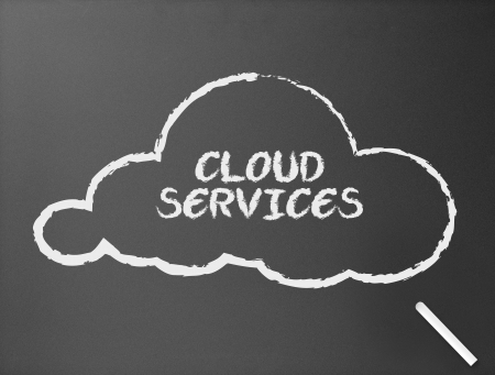 Dark chalkboard with a cloud service illustration.  illustration