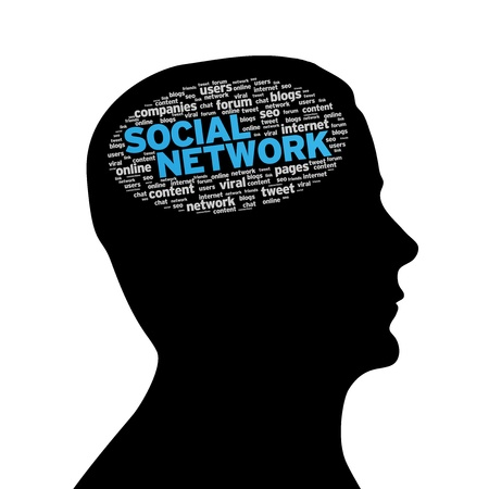 Silhouette head with social network cloud on white background. Stock Photo - 10319999