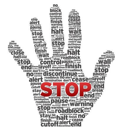 drogadiccion: Una mano hecha de varias palabras en el fondo blanco.