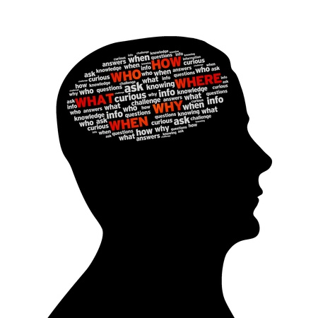 investiga��o: Silhouette head with a How, Who, What, Where, Why, When cloud on white background. Banco de Imagens