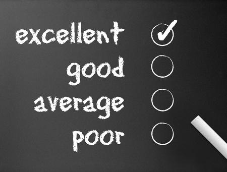 poll: Dark chalkboard with a customer survey illustration.  Stock Photo