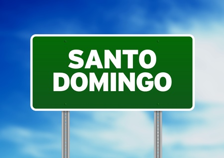 Green Santo Domingo,Dominican Republic highway sign on Cloud Background. Banco de Imagens