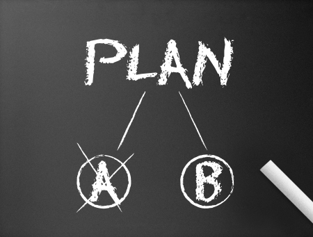 different strategy: Dark chalkboard with a Plan A & Plan B  illustration.