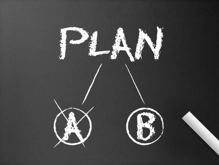 Pizarra oscuro con una ilustración de Plan B de un Plan &.  Foto de archivo