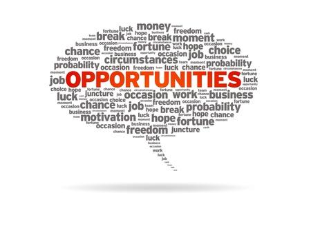 werk: Speech bubble met het woord kansen op een witte achtergrond. Stockfoto