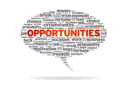 opportunities: Speech bubble with the word opportunities on white background.