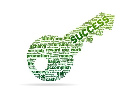 Een sleutel met het woord succes op witte achtergrond.