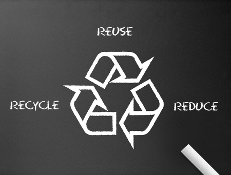 disposal: Dark chalkboard with a recycle, reduce, reuse illustration.