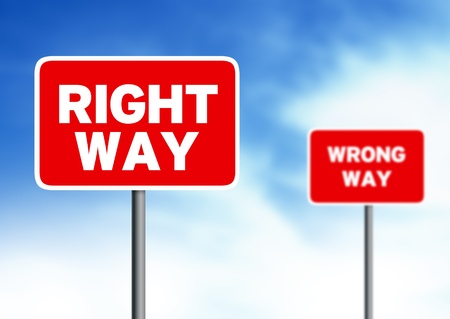 wrong way: Red right way and wrong way street sign on cloud background. Stock Photo