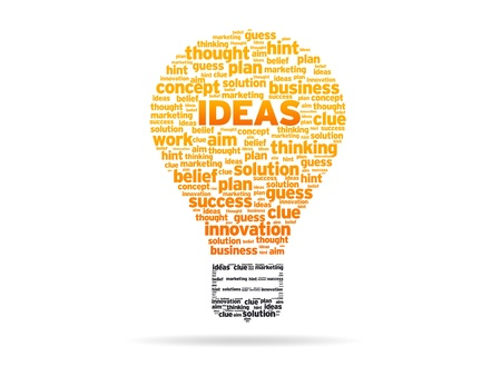 new ideas: Abstract Light Bulb with the word Ideas on white background. Stock Photo