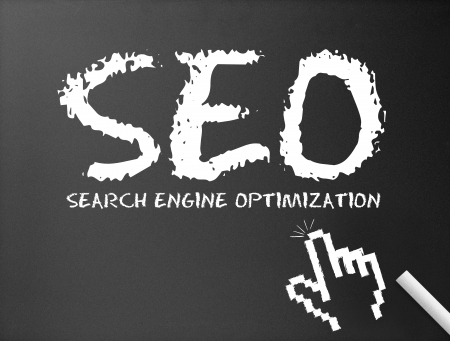 optimize: Dark chalkboard with search engine optimization illustration.  Stock Photo