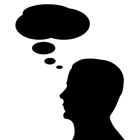 inform information: Silhouette head with Chat Bubbles on white background.