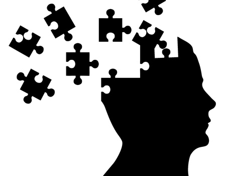 questionmark: Silhouette head with puzzle pieces on white background.