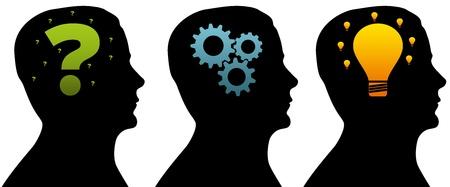 query: Hoofden van het silhouet van een denkproces op witte achtergrond.