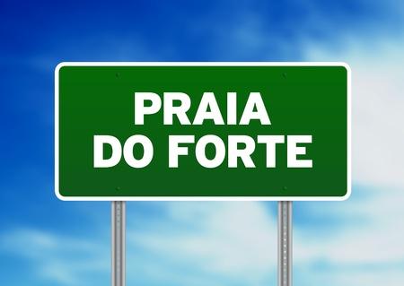 praia: Green Praia do Forte, Brazil road sign on Cloud Background.