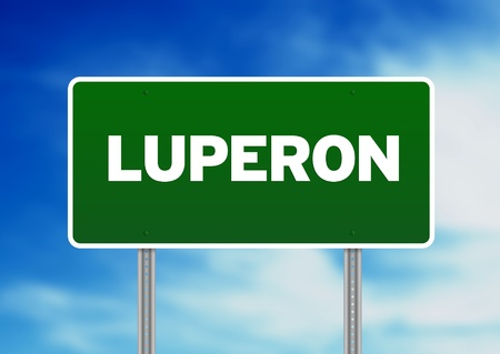 Green Luperon, Dominican Republic highway sign on Cloud Background.  photo