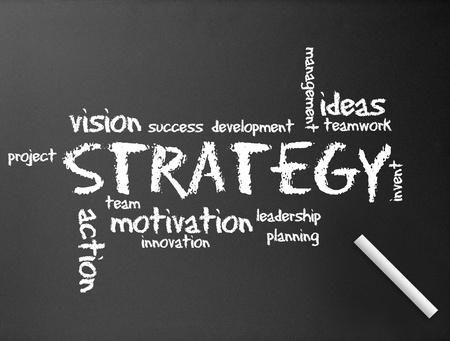 Sombre tableau noir avec une illustration de diagramme de stratégie.  Banque d'images - 10444997