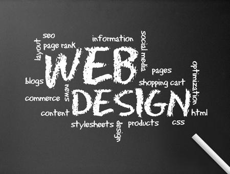 seo: Donkere schoolbord met een web ontwerp illustratie.
