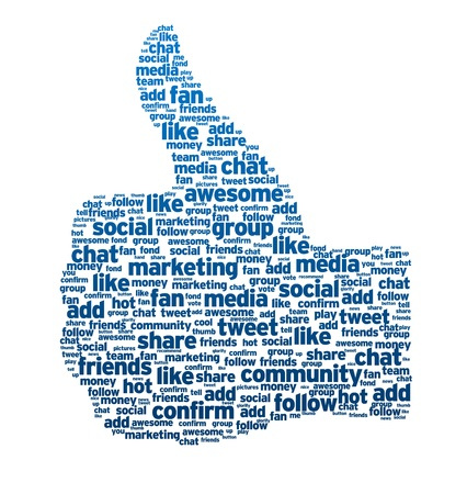 web marketing: Thumbs up, like button on white background.