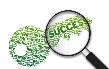 key words: Magnifying Glass with a key and the word Success on white background.