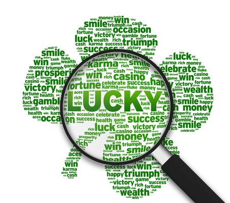 Magnified Clover leaf with the word lucky on white background.