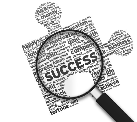 Magnified puzzle piece with the word Success on white background.