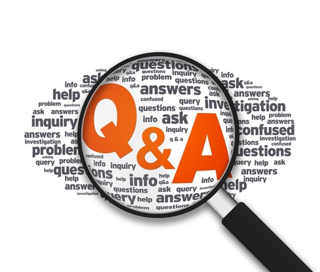 find answers: Magnified illustration with the words Q&A on white background.