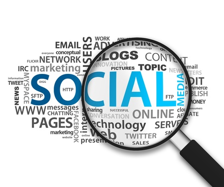 m�dia: Magnified Social Network illustration on white background.