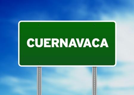 morelos: Green Cuernavaca, Mexico highway sign on Cloud Background.