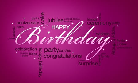 인쇄 할 준비가 고해상도 핑크 생일 카드.