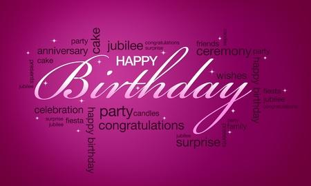 De alta resolución de color rosa tarjeta de feliz cumpleaños lista para imprimir. Foto de archivo - 10487206