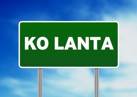 Green Ko Lanta, Thailand road sign on Cloud Background.  版權商用圖片