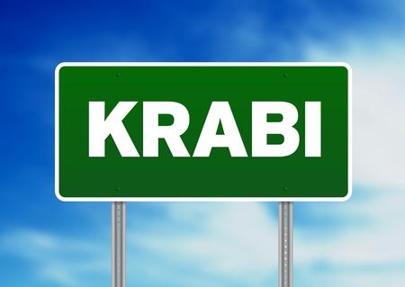 Green Krabi, Thailand road sign on Cloud Background.  版權商用圖片