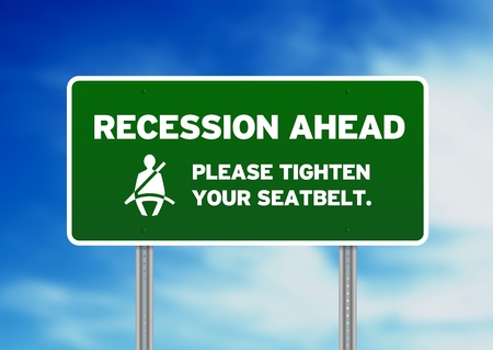 foreclosure: Green Recession Ahead Road sign on Cloud Background. Stock Photo