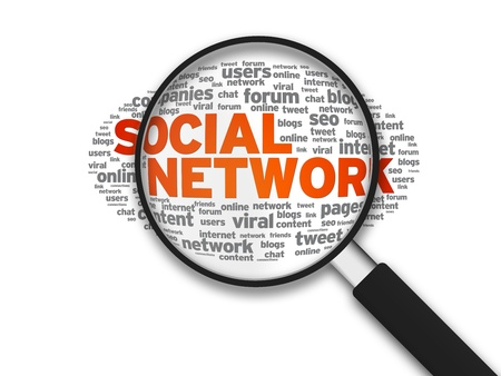 digital marketing: Magnified illustration with the word Social Network on white background. Stock Photo