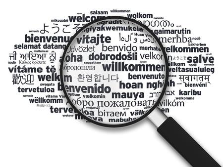translate: Ilustraci�n ampliada con la palabra de bienvenida en diferentes idiomas sobre fondo blanco.
