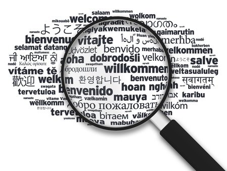 Magnified illustration with the word welcome in different languages on white background.