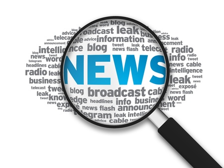 Magnified illustration with the word news on white background. Banque d'images