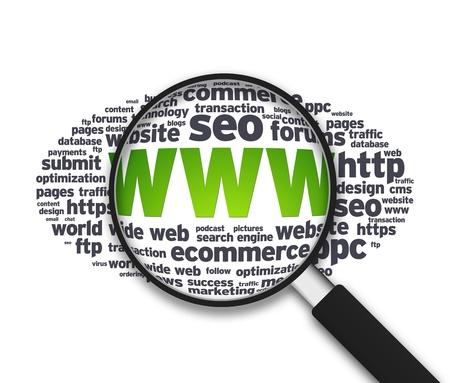seo: Vergrote afbeelding met het woord WWW op witte achtergrond. Stockfoto